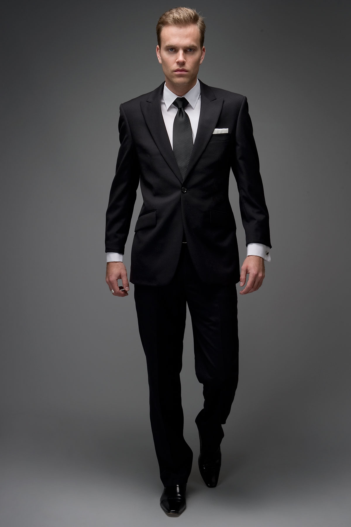 1 Button Black Self Stripe Suit