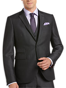 Charcoal Pinstripe Extreme Slim Fit Vested Suit