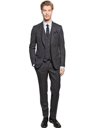 Charcoal Vertical Striped Three Piece serge Suit