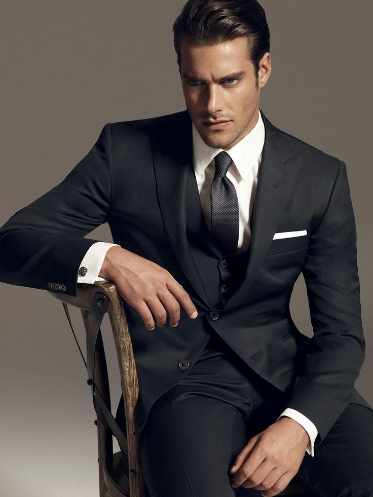 Classic black suit, with vest