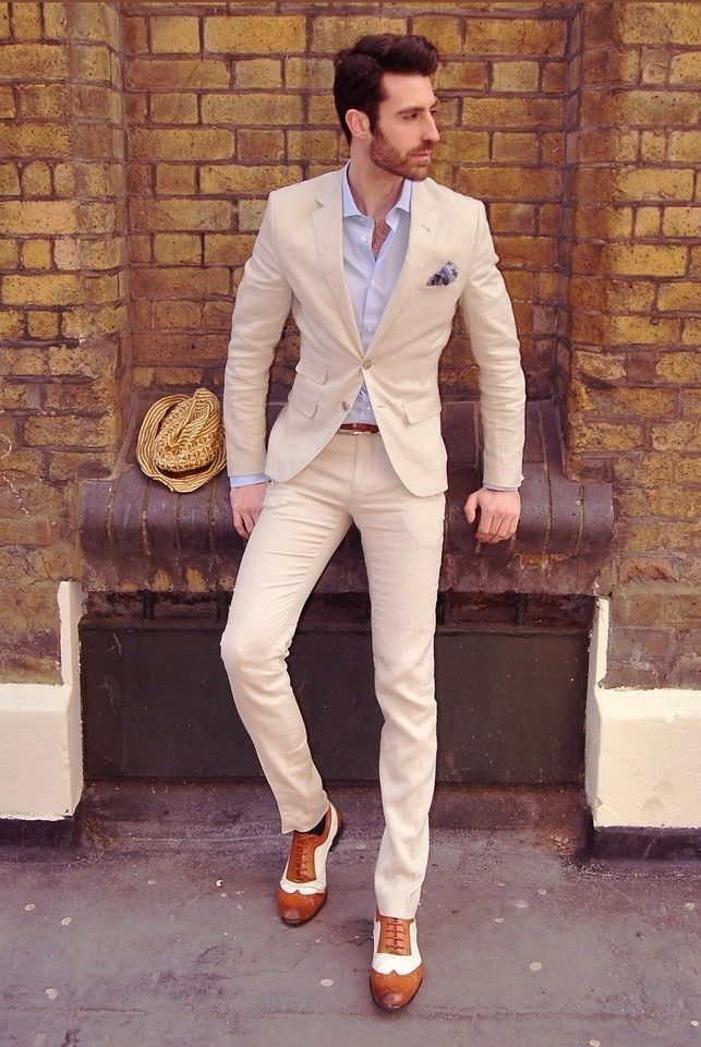 Cream-colored summer suit for a man
