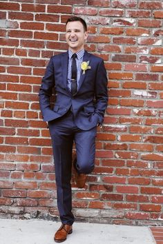 Dark blue suit for men
