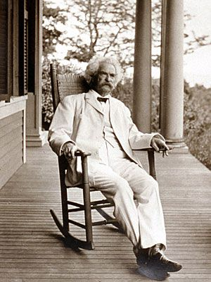 Mark Twain, 1896, white suit