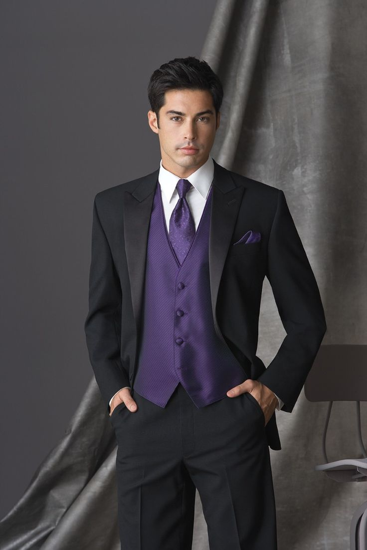 Regency Purple Tuxedo Vest & tie with black suit-