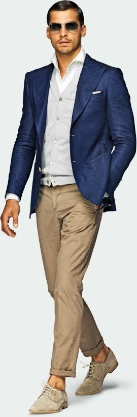 men casual suit with Navy & tan outfit with linen blazer jacket ...
