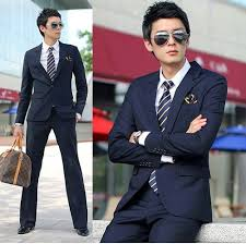 slim fit style dark blue men suit