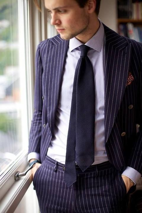 vertically striped men's suit