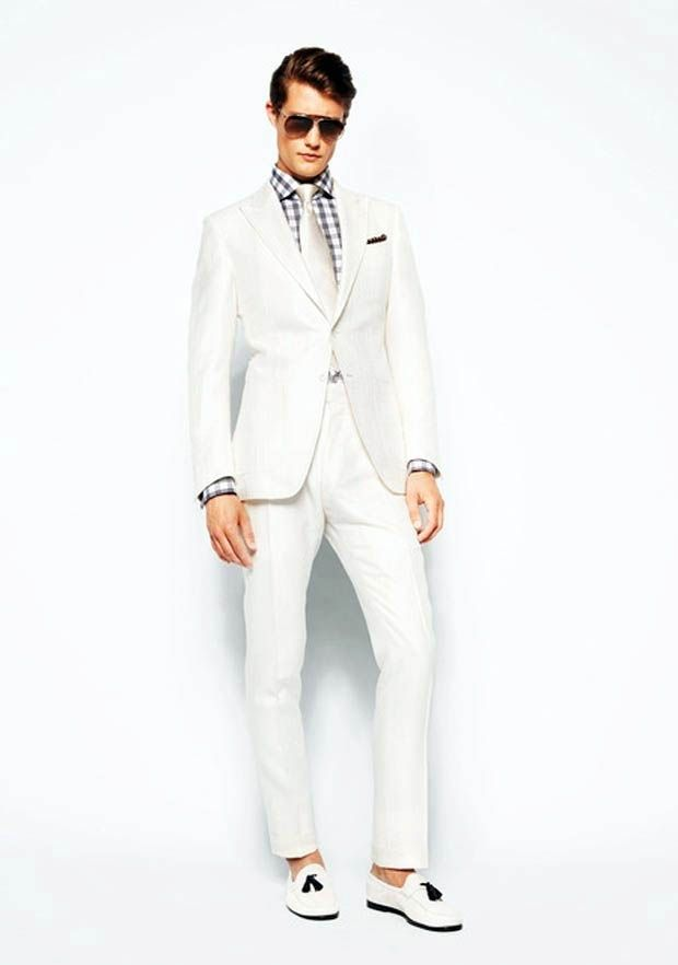 white summer men suits