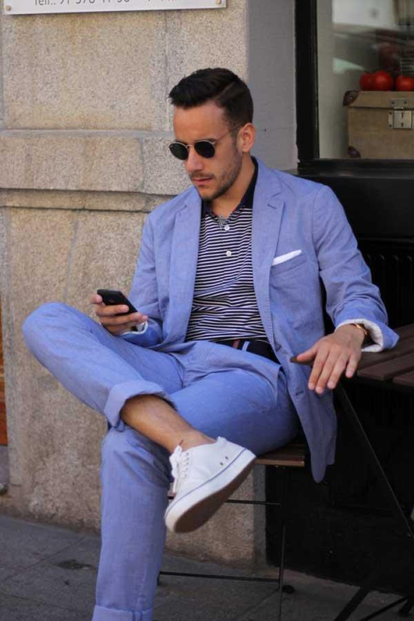 Grey suit light blue shirt