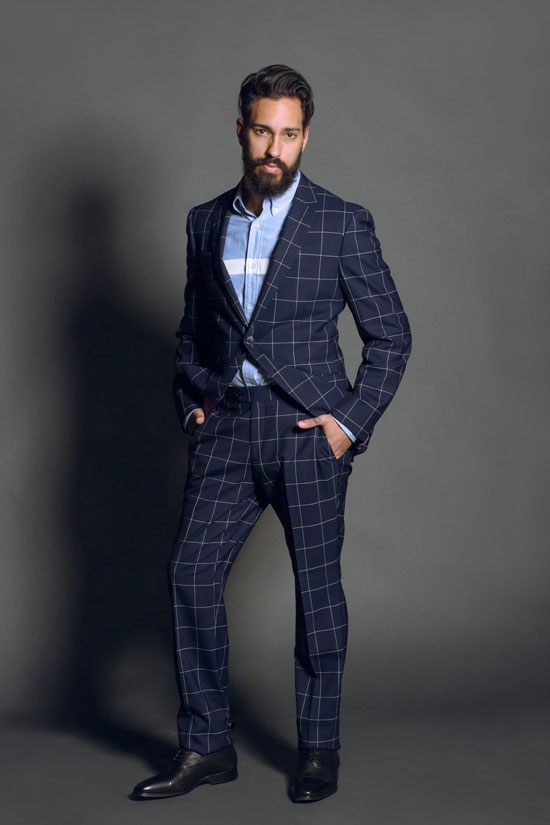 Windowpane men suits mens suits tips for Navy suit checkered shirt