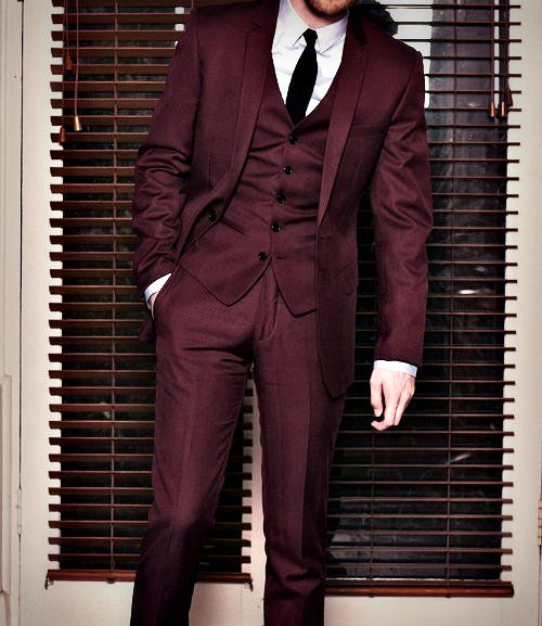 Burgundy men suits mens suits tips for Black suit burgundy shirt