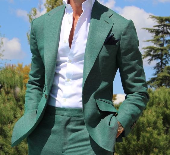Green Suit is a great piece to have in any professional man's wardrobe. The shades of Green suits are generally from dark Green to medium Green to Green. The shades of Green suits for both day and night as well as summer or winter wear. The man.
