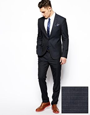 blue fitted suits for men