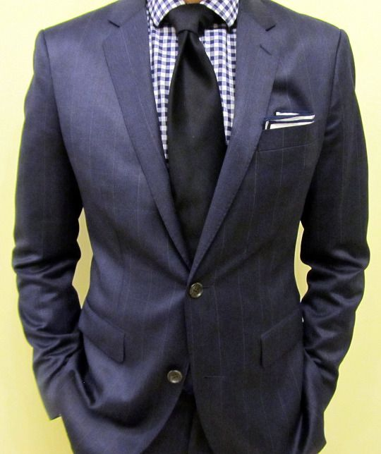 Grey windowpane suit blue striped shirt solid tie mens for Navy suit checkered shirt