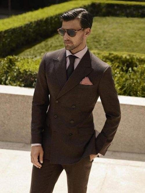147cf473e37f Dark brown double breasted men suit with polka dot pocket square ...