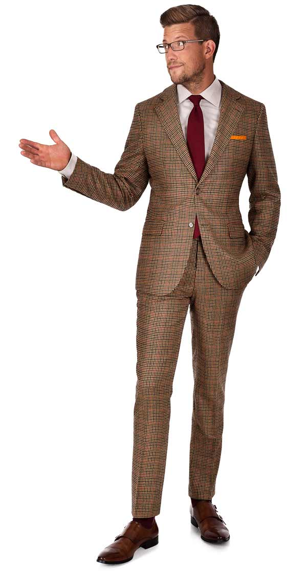 Grey Check Suit Brown Shoes