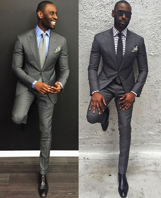 Suit color for black men can be anything from rust to black, light tan to charcoal gray. These practical, go-to suits are suitable for several occasions from business to dinner. These practical, go-to suits are suitable for several occasions from business to dinner.
