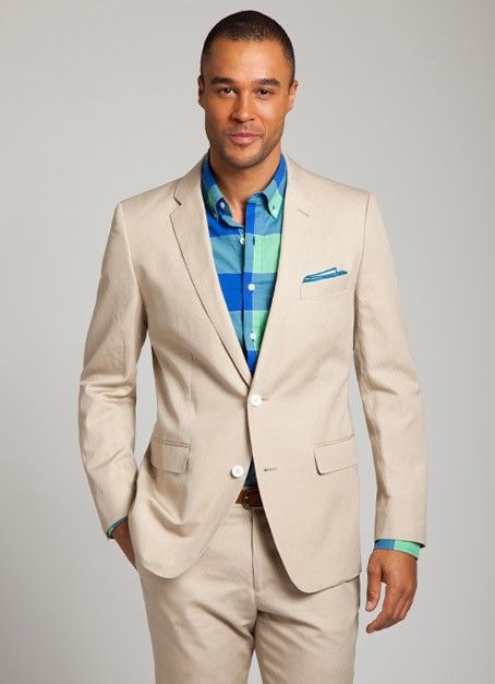 Khaki Suit. Clean and classic, a khaki suit is a wardrobe essential. From women's skirt suits to men's single-breasted styles, a khaki suit is a great way to infuse your work-ready look with a .