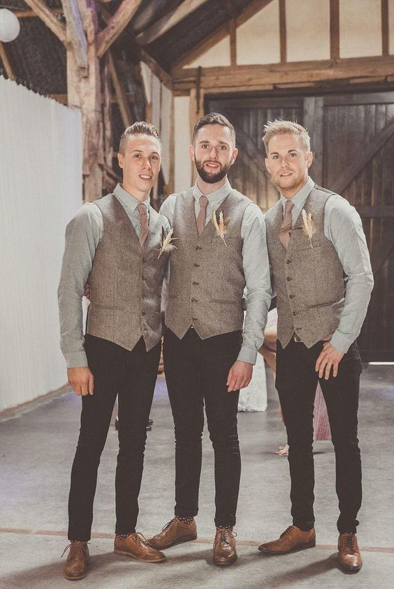 Custom Made Tweed Vest Tuxedos Mens Suits Tips