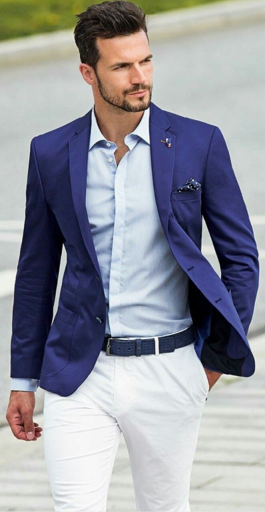 Casual Business Suit With Blue And White Combination