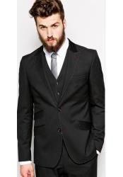 Two toned custom made black suit for men