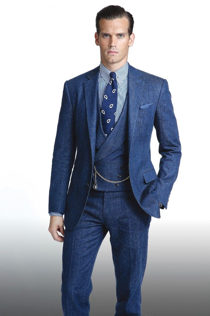 A three-piece denim suit from Ralph Lauren