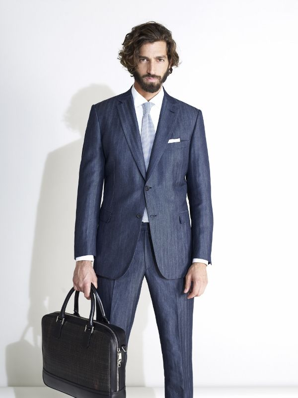 Brioni Mens Suit SS 2013 collection- Denim-Linen Suit