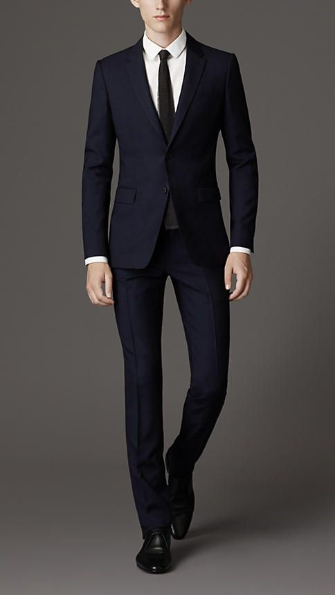 Burberry London Slim Fit Travel Tailoring Wool Sharkskin Suit ...