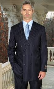 Classic Double Breasted Color Dark Blue Mens Suit With Pinstripe
