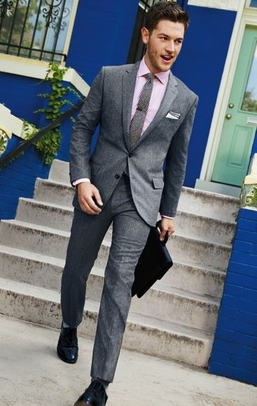 Confidence cut grey men suit