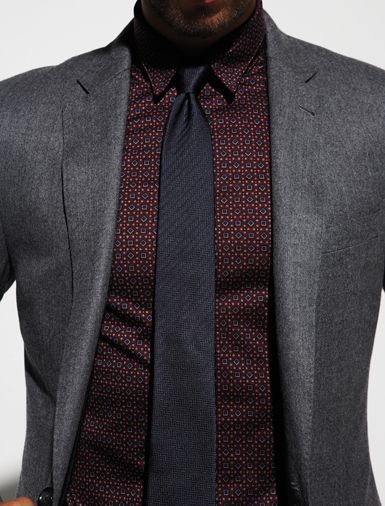 Gray Suit with Burgundy Shirt and Black Tie