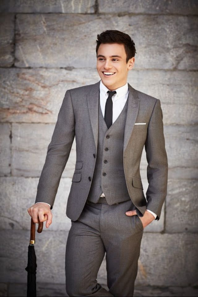 Grey suit and vest