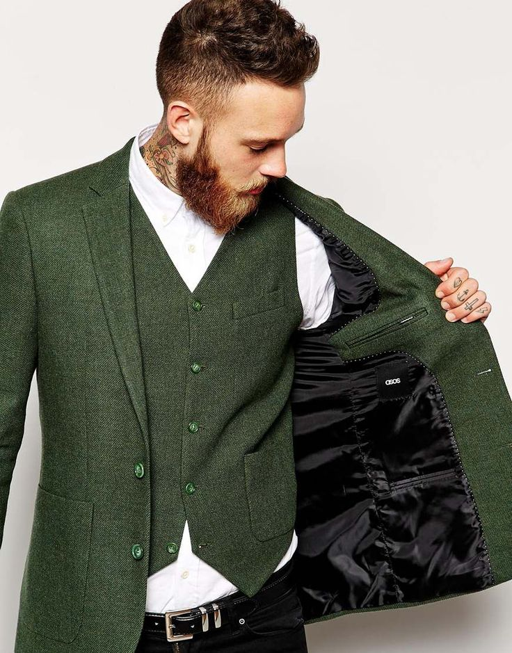 Groom in rustic vintage green jacket and waistcoat | Mens Suits Tips