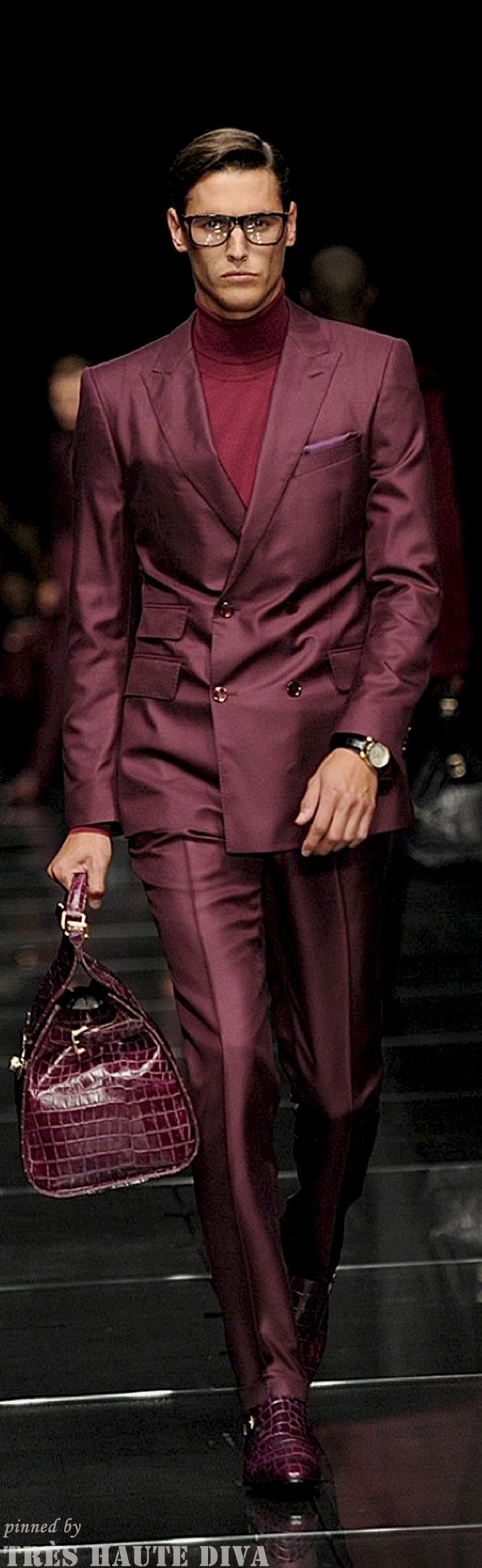 Men's wine double breasted suit