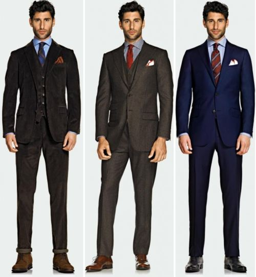 brown black and navy suit