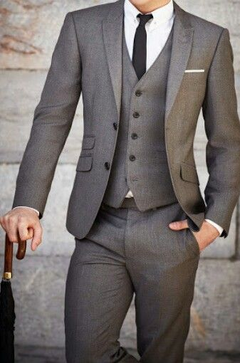 dark gray, three-piece men's suit