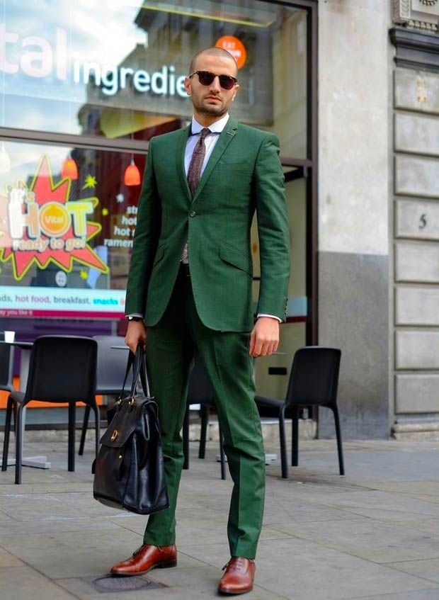 green classic men suit