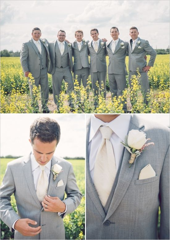 grey and cream wedding suits for men