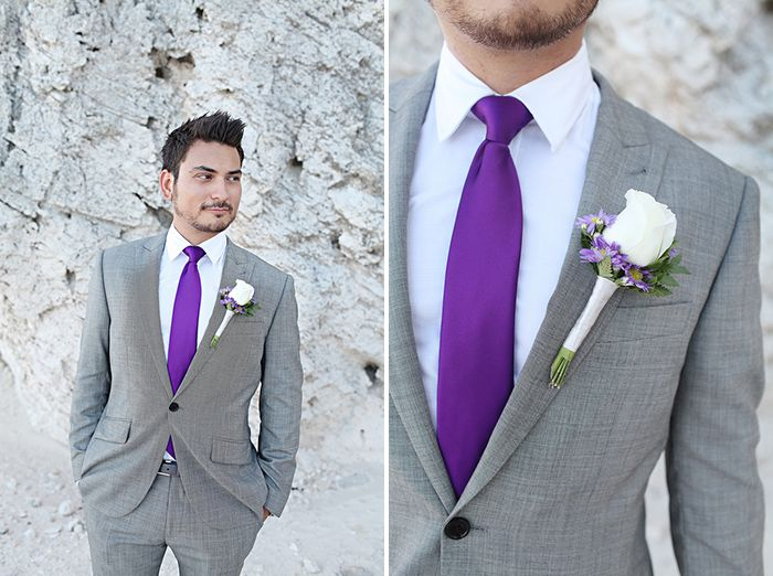 groom in a gray suit with a bold purple tie