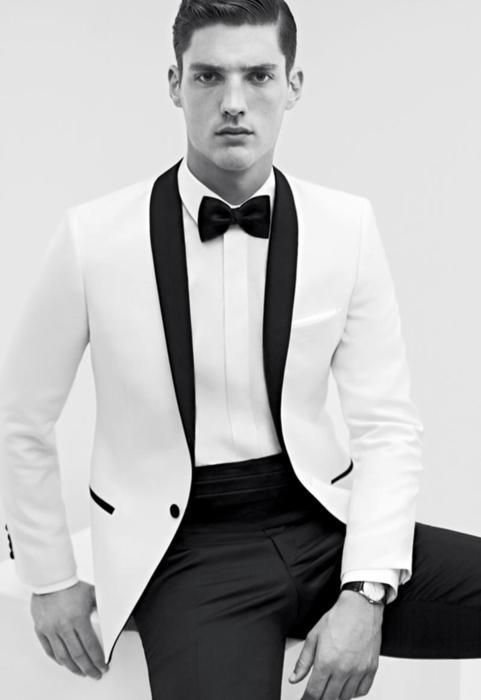 white and black men wedding suit | Mens Suits Tips