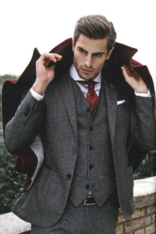 winter gray men's suit
