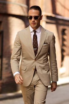 Tan Khaki Men Taupe Suits (7) | Mens Suits Tips