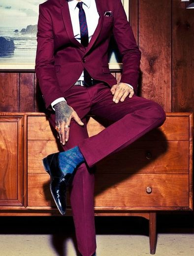 Colored men suits mens suits tips for Black suit burgundy shirt