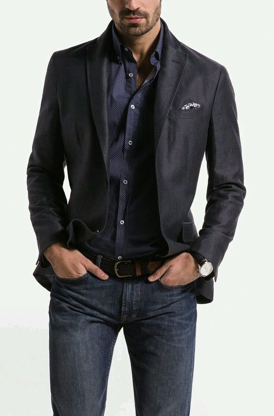 13 Ways to Wear Jeans With a Blazer. In reality, the difference between a suit jacket and a blazer are fairly small, with the suit jacket always having a matching pair of trousers made to go with it. They're also a little slimmer fit than the blazer, and can come in sleeker shiner materials.