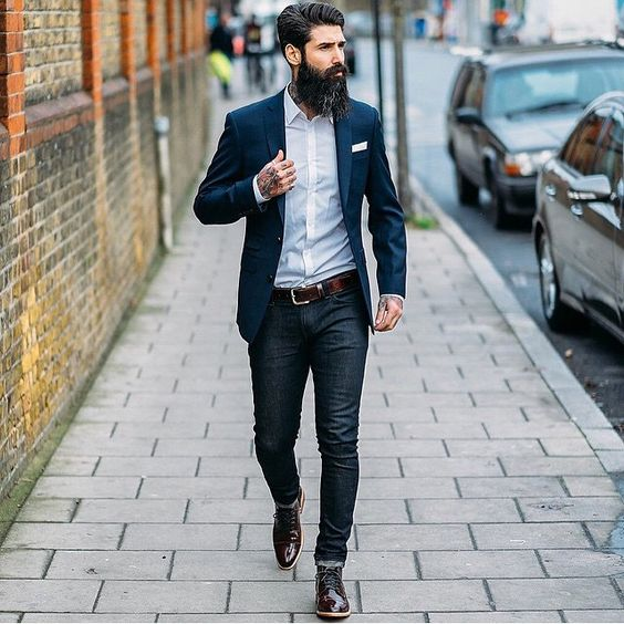 Your classic blue jeans can also pair well with a blazer and can easily be adapted to suit the look you're trying to achieve. For a casual style, choose light, mid-blue jeans or faded styles in a straight-leg cut.