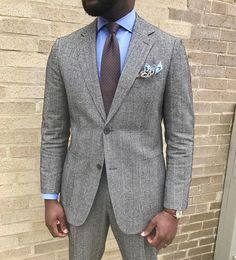 Grey glen plaid suit with light blue shirt and brown tie | Mens ...