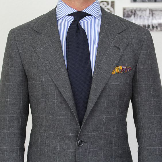 grey windowpane suit blue striped shirt solid tie mens
