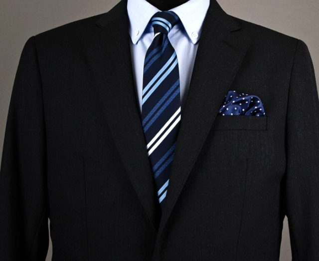 Navy Blue Polka Dot Pocket Square Mens Suits Tips
