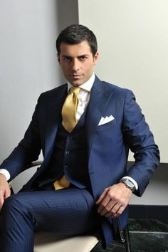 Navy blue three piece men suits with gold tie | Mens Suits Tips
