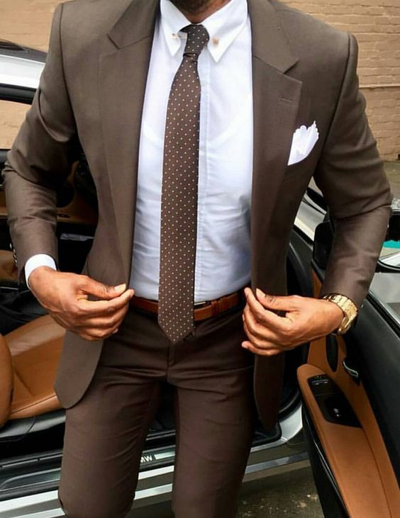 dark brown men suit with white shirt and polka dot brown